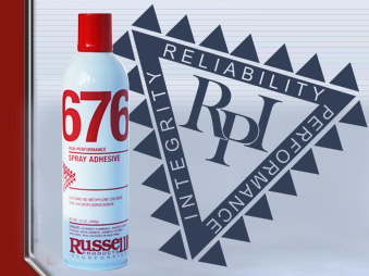 Russell 676 and  690 Spray Adhesives Work on Most substrates.